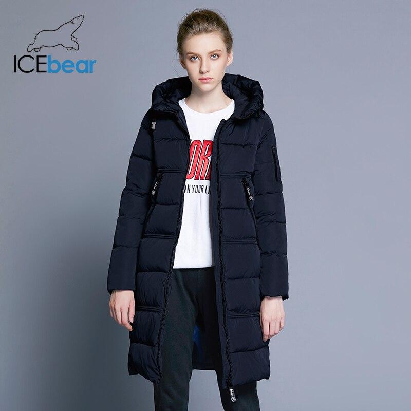ICEbear 2018 Для женщин стеганые парки Для женщин двусторонние карман толщиной с капюшоном ветрозащитный Теплый вязаный ветрозащитный рукава ...