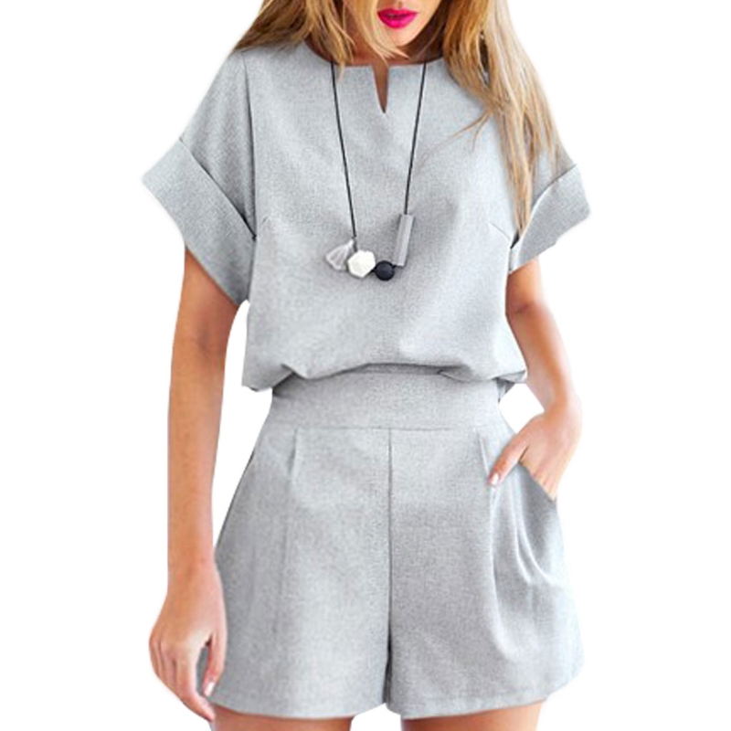 Women's Summer V Neck Short Sleeve Tops With Loose Shorts Suits Outfits Sets FR024