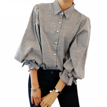 Z&I Women shirt New Fashion Striped Lantern Sleeve Turn-down Collar Bow Long sleeve Blouse Women Top cloth(China)