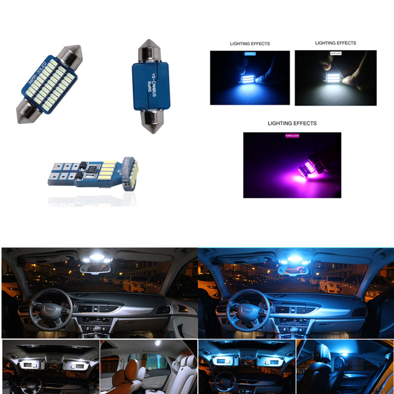 19pcs Canbus Car LED Light Bulbs Interior Package Kit For For Audi A4 B7 S4 RS4 Avant Sedan Map Dome Glove Box License Plate