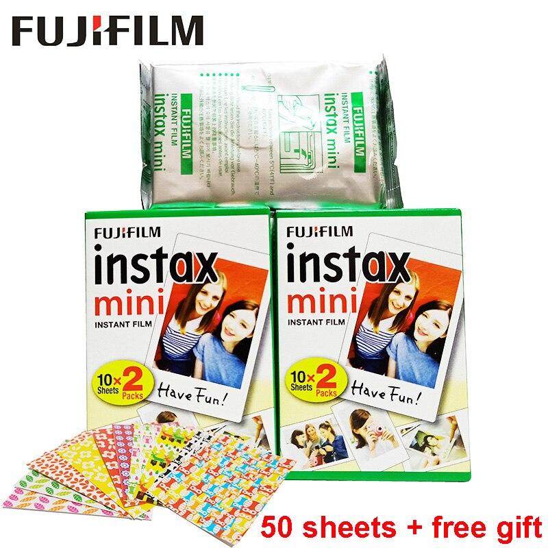 50 Sheets Fujifilm Instax Mini White Edge Film Instant Photo Paper for Instax Mini 8 9