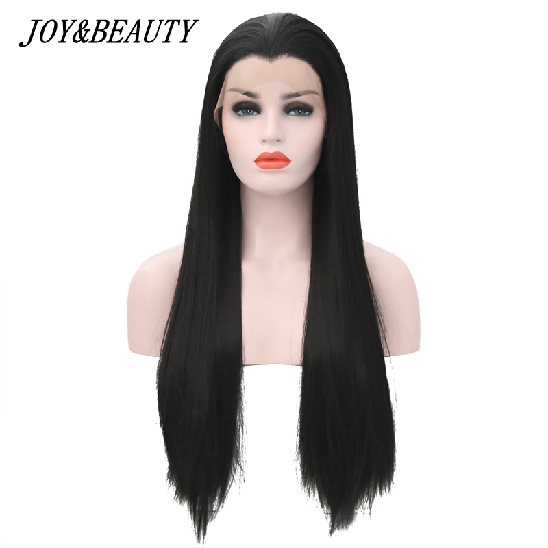 JOY&BEAUTY 22-28 Inch Long Silky Straight Black Synthetic Lace Front Wig Glueless Heat Resistant Fiber For Black White Women Wig