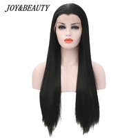JOY&BEAUTY 22 28 Inch Long Silky Straight Black Synthetic Lace Front Wig Glueless Heat Resistant Fiber For Black White Women Wig