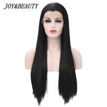 Длинный шелковистый прямой черный синтетический парик JOY & BEAUTY, 22 28 дюймов, бесклеевое Термостойкое волокно, парик для чернокожих и белых женщин