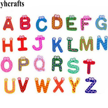 260PCS/LOT.A-Z capital letter alphabet wood fridge magnet English Chinese learning Teach your owm Self learning Kindergarten toy