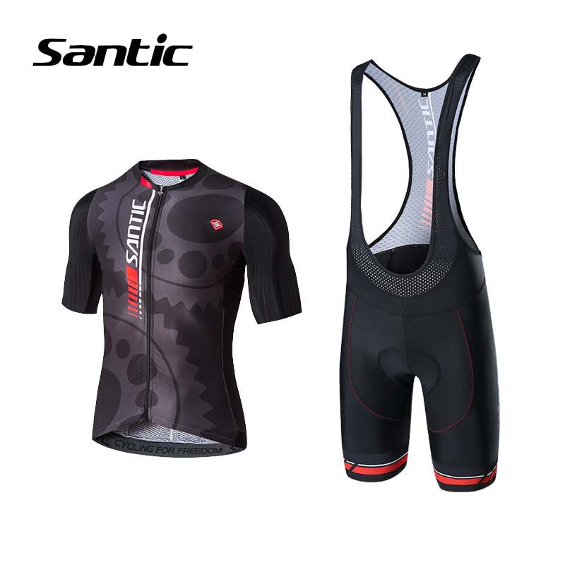 Santic 2018 Pro Team Cycling Jersey Men Breathable Short Sleeve Racing Set Ropa Ciclismo Sponge Pad Bicycle Clothing Bike Wear 2017 new pro team cycling jerseys bike clothing ropa ciclismo breathable short sleeve 100