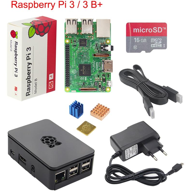 Original Raspberry Pi 3 B + Starter Kit + Fall + 2.5A Power versorgung Adapter + Aluminium-kühlkörper für Raspberry Pi 3 Modell B + Plus