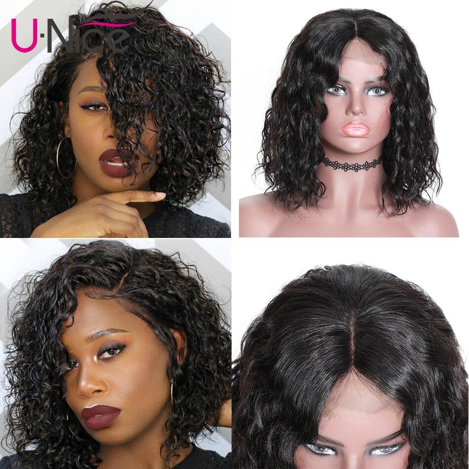 HTB1RWDhU4naK1RjSZFtq6zC2VXa3 Unice Hair 13x4 Short Lace Front Human Hair Bob Wigs Water Wave Brazilian Remy Hair Lace Wig Pre Plucked Hairline
