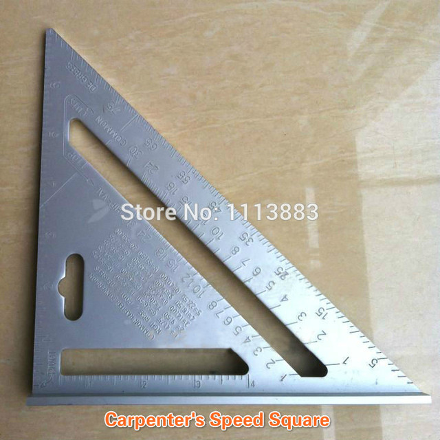 7inch Silver Aluminum Alloy Speed Square Roofing Triangle Angle Protractor  Try Square Carpenteru0027s Measuring Layout Tool