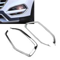 New 1Pair Chrome Front Head Fog Light Foglight Lamp Cover Trim For Hyundai Tucson 2015 2016