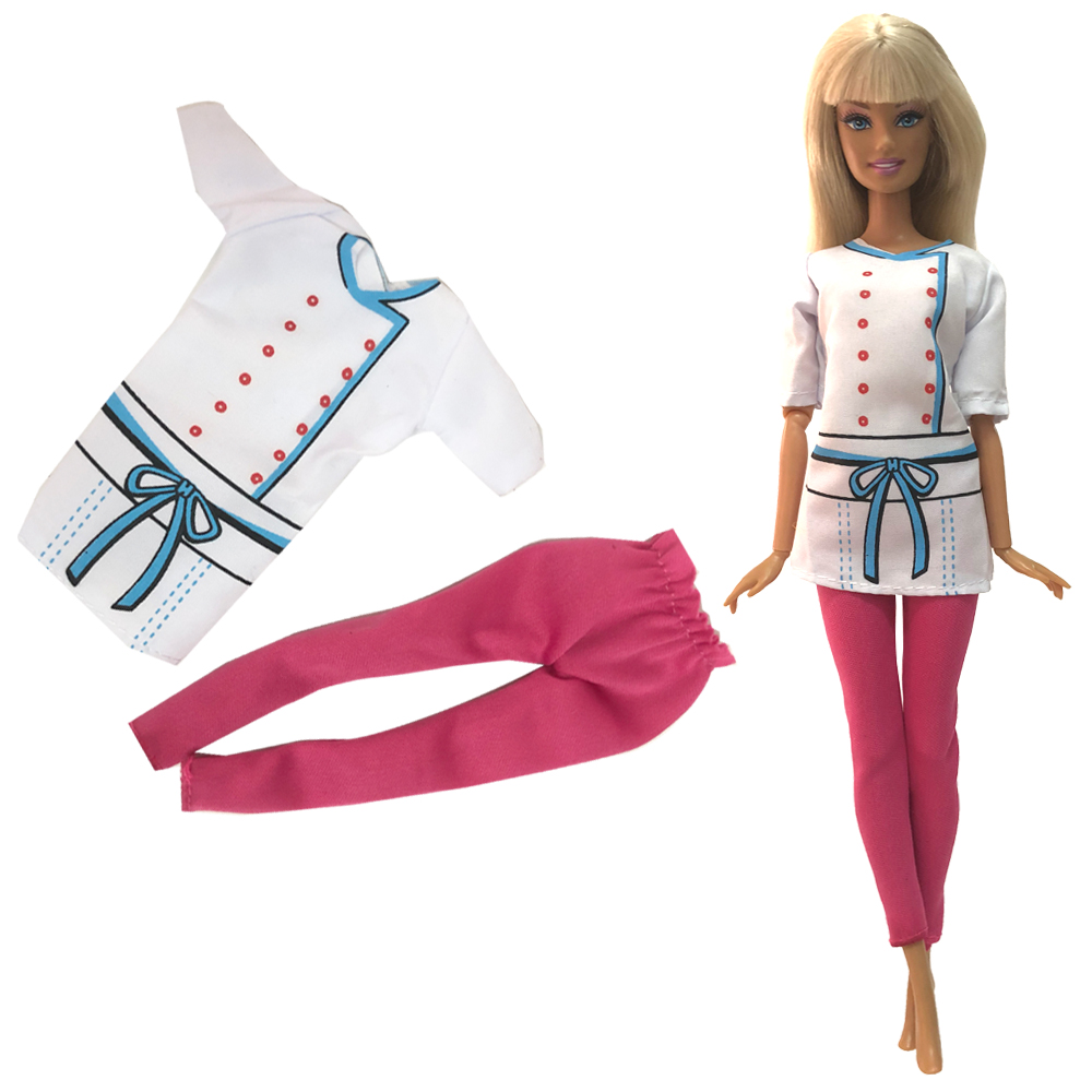 NK  Newest Doll Chef Uniform Handmade Party ClothesTop Fashion Skirt For Barbie  Doll Dress  Best Child Girls'Gift 03A