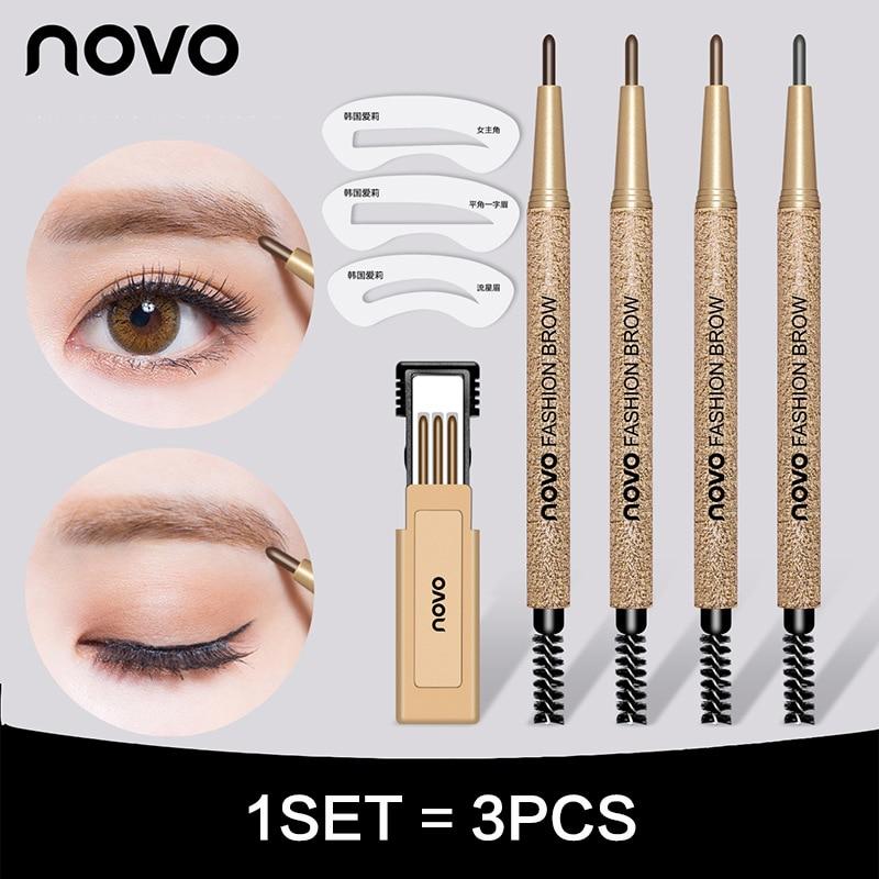 New Brand NOVO 4 Colors Eyebrow Pencil Makeup Set With 3pcs pencil+3pcs Eye Brows Template Waterproof Long Lasting Make Up Kits