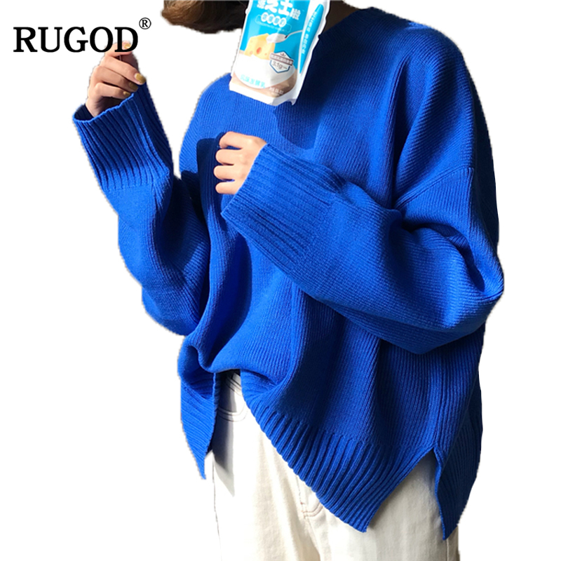Rugod Sweater Women Sweater and pullover 2017 Winter Autumn Long Batwing Sleeve O-neck Loose Knitted Jumper christmas sweater