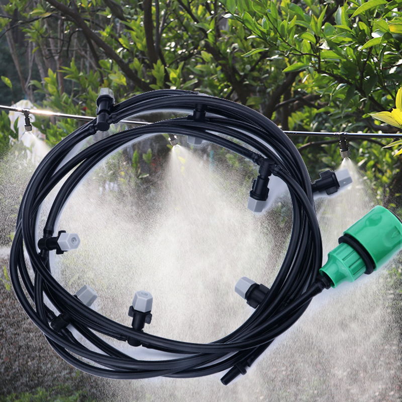 Water Misting Cooling System Mist Sprinkler Nozzle Outdoor Garden Patio Greenhouse Plants Spray Hose Watering Kit 10/20/25M