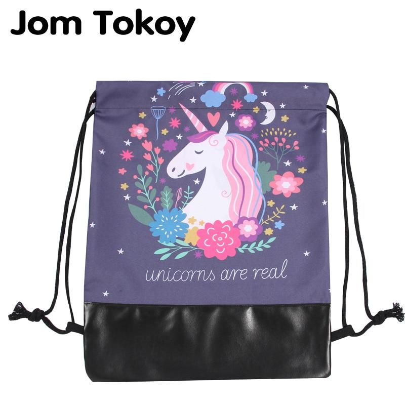 Jom Tokoy Style Camellia Leather Bottom Women Drawstring Backpack Mochila Feminina Escolar Bolsa 3d Printing Drawstring Bags