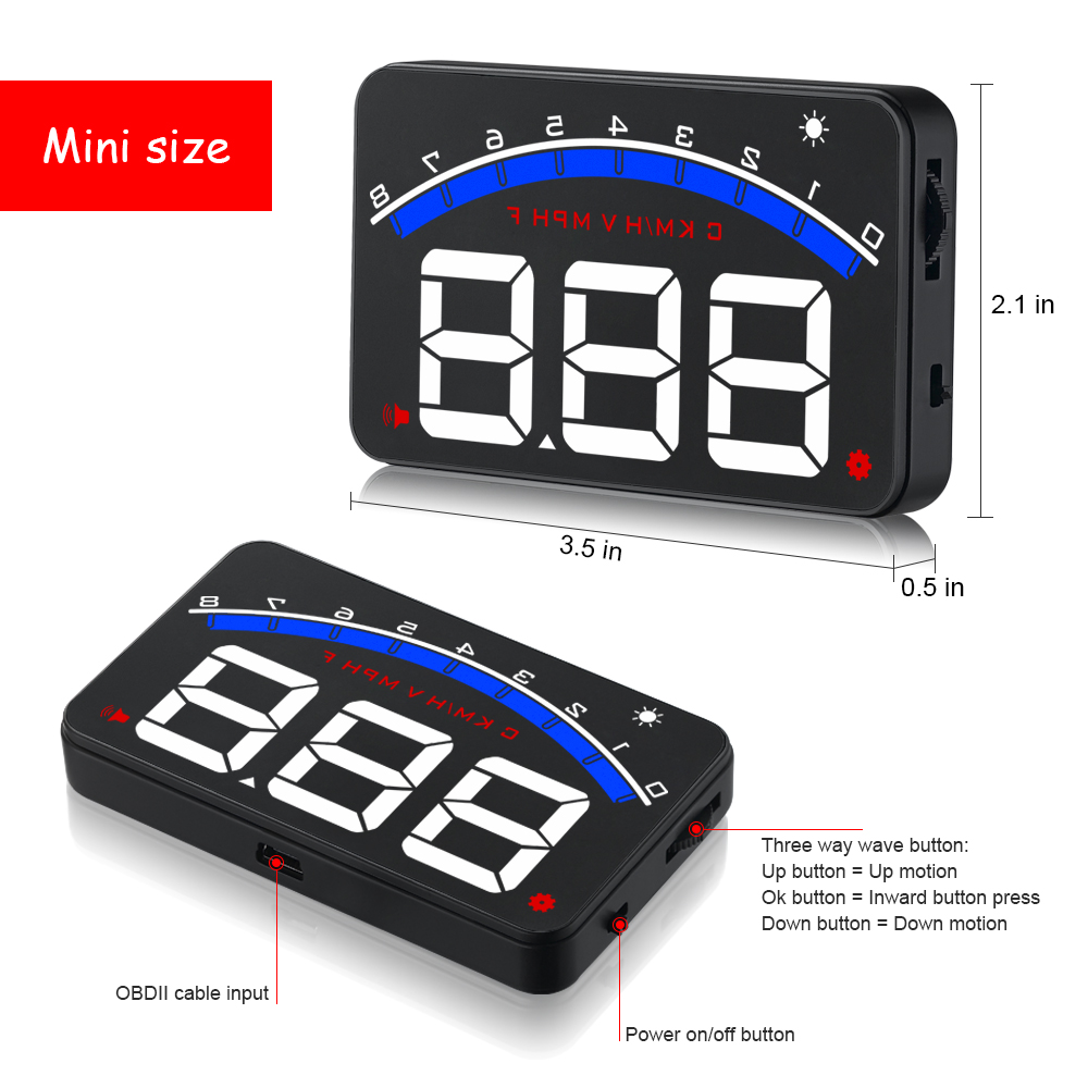 Image 3 - GEYIREN Auto Electronic Overspeed Warning System Water Temperature Alarm Car HUD OBD2 RPM Meter M6 Head Up Display-in Head-up Display from Automobiles & Motorcycles