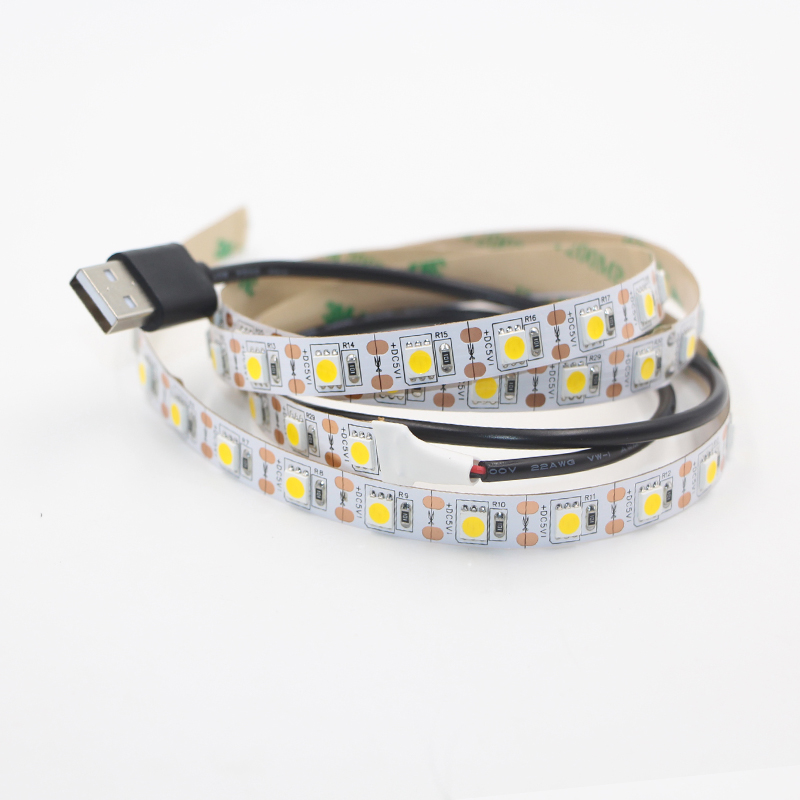 DC 5V 5050 LED Strip 60Leds/m 0.5m-5m TV Background Not Waterproof Flexible Ribbon tape lamp Kit Lighting with 50cm USB cable