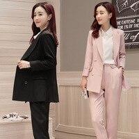 Elegant Fashion Style Suit Leggings Sweet Spring 2017 Long Sleeved Jacket Thin Film Solid Repair Women