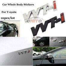 10 piezas para Toyota Camry Carolla Reiz Sienna prius tierra Rav4 VVTI etiqueta de logotipo 3D Metal Auto pegatinas emblema de coche placa de etiqueta engomada del cuerpo de