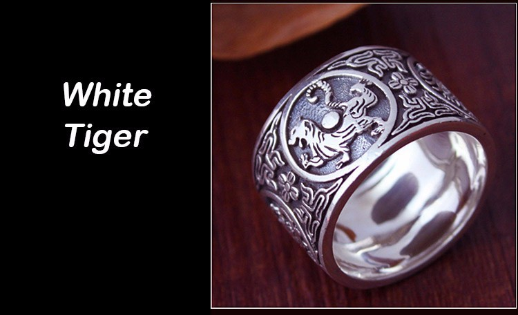 Awesome Chinese Traditional Culture 999 Sterling Silver Ring White Tiger