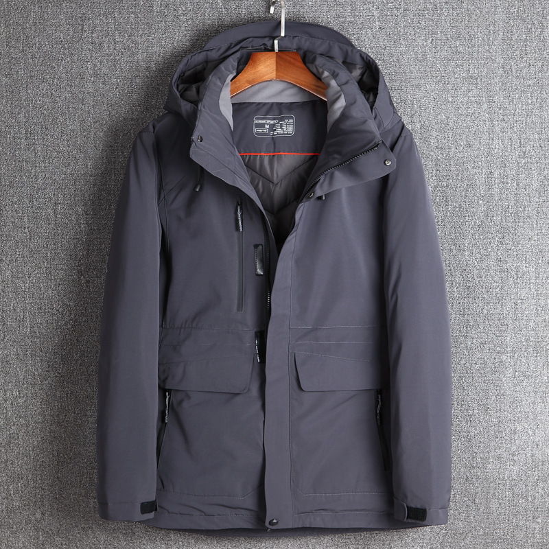 2017 Winter Men's   Down   Jackets Duck   Down   Winter Warm Waterproof Long   Down     Coat   Hooded Removable Outerwear Top Quality Jacket