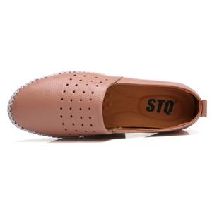 Image 4 - STQ 2020 Summer Women Flats Genuine Leather Ballet Flats Shoes Ladies Cutout Slip On Tenis Feminino Loafers Slipony Shoes B17