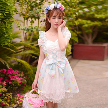 4b532c519486 Princess sweet lolita dress Candy rain Japanese style summer Dew shoulder  off sweet bow lace floral