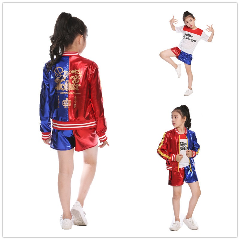 Movie Suicide Squad Harley Quinn Cosplay Costume for Kids Girls Halloween Carnival Dress Harley Quinn Jacket Underwear T-shirt