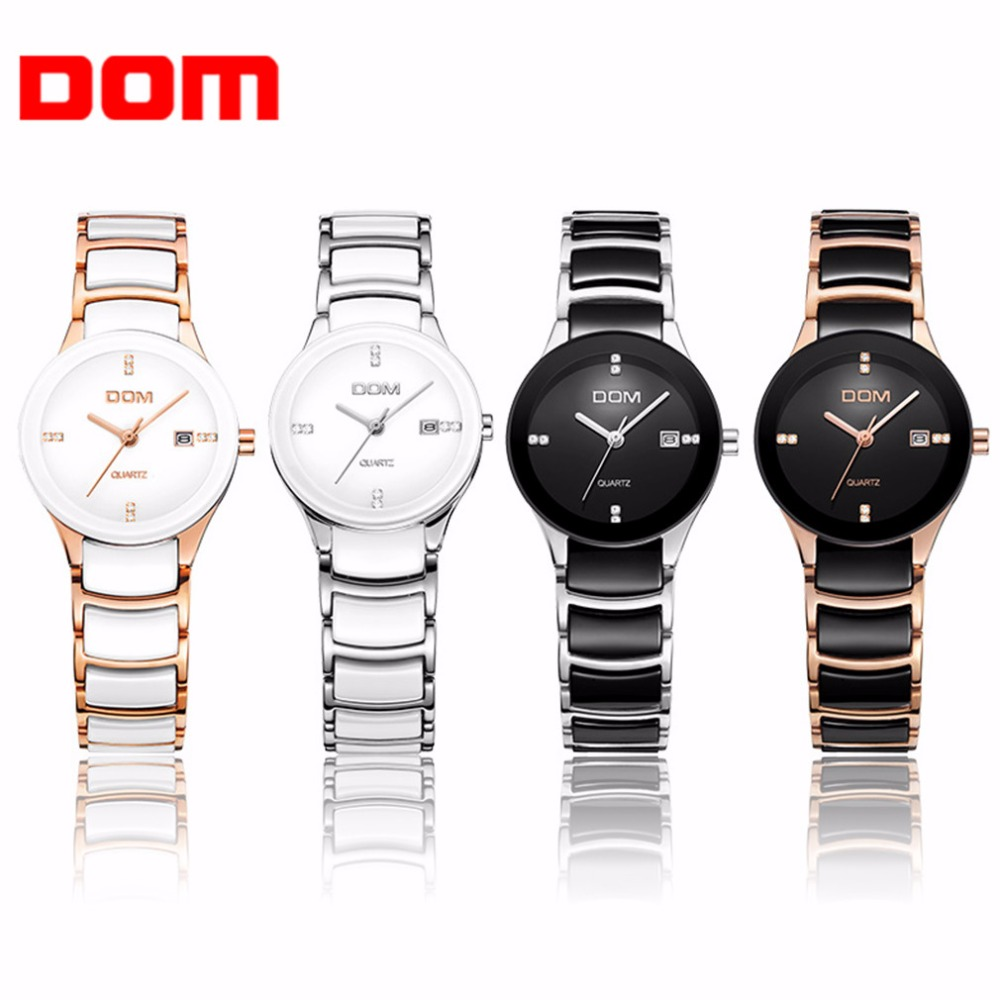 Women Watches DOM Luxury Famous Women Wrist Watches Waterproof Charming Ceramic Strap Wedding Quartz Wrist Watches