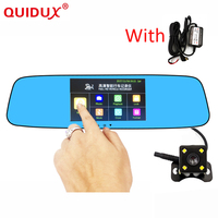 QUIDUX 4.3 inch Touch screen car dvr camera Review Mirror night vision Full HD 1080P dual lens dash cam Video Recorder car dvrs