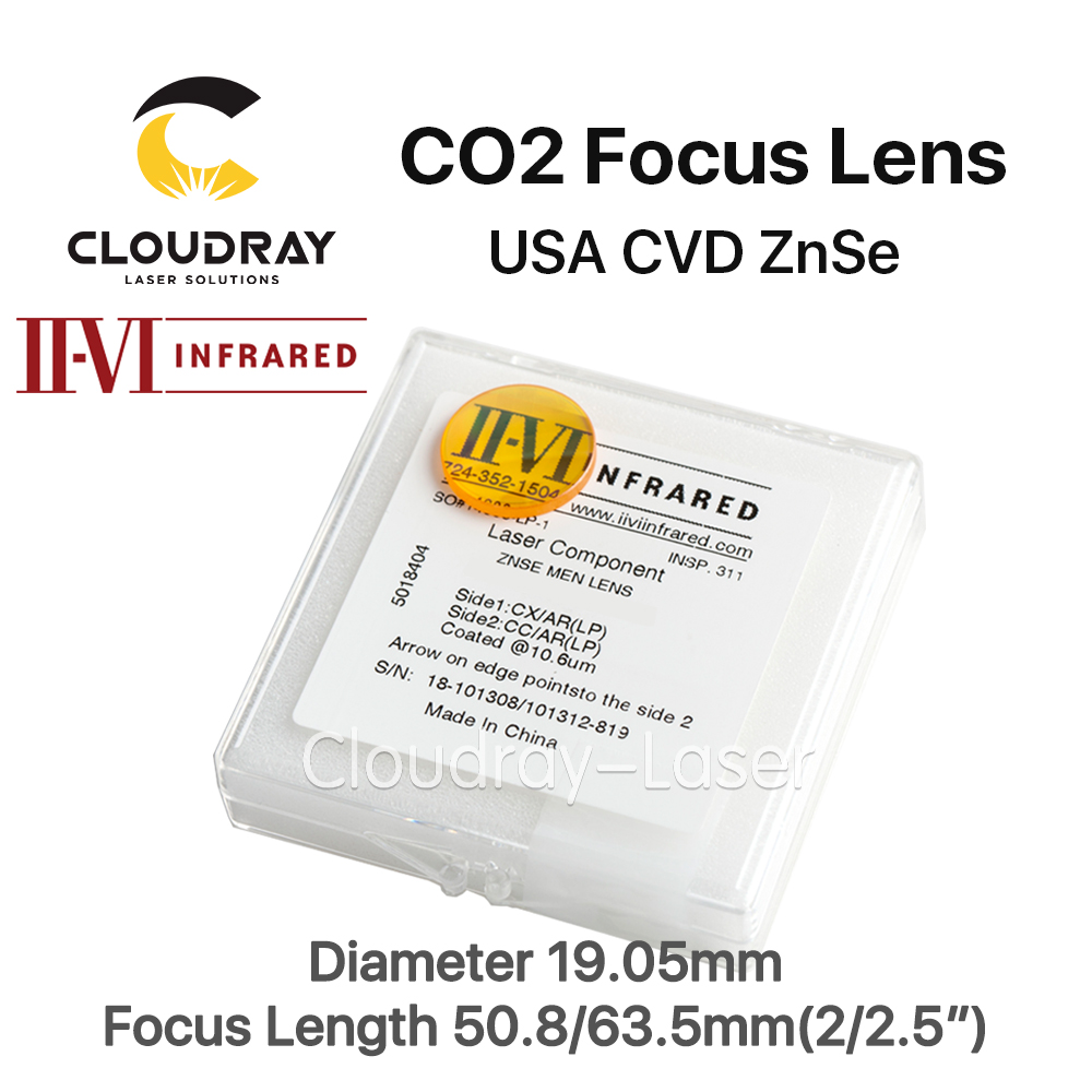 Cloudray II-VI ZnSe Focus Lens Dia. 19.05mm FL 50.8/63.5mm 2/2.5 for CO2 Laser Engraving Cutting Machine Free Shipping high quality znse focus lens co2 laser engraving cutter dia 19mm fl mm 1 5 free shipping
