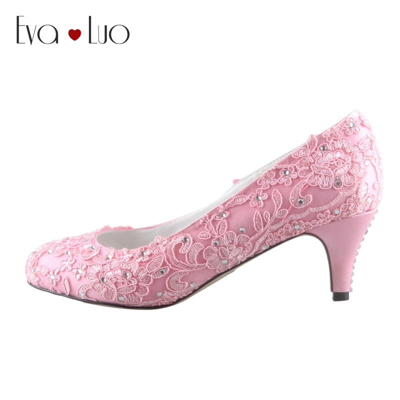 Pink Low Heel Wedding Shoes: CHS662 Custom Made Light Pink Low Heel Lace Bridal Wedding