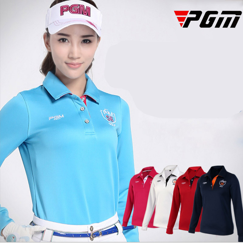 Brand Women Full Sleeve Shirt Outdoor Sports Golf Jersey Female Breathable Comfortable All seasons Soft T-shirt Red White XL M