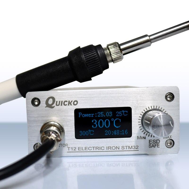 QUICKO T12 STM32 OLED Soldering Station Finished V3.1/1.3 Display Digital Temperature Controller Electronic CNC Engraving Panel