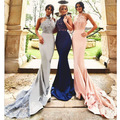 vestido madrinha Lace Mermaid Long Bridesmaid Dresses Halter Sexy Backless Long Appliqued Maid Of Honor For Wedding Party Custom