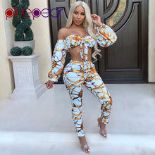 cd797329049 PinePear High-End Gold Chain Print Women 2 PCS Sets 2019 Sexy Strapless  Long Sleeve Bow Bandage Crop Top + Pants Two Piece Set