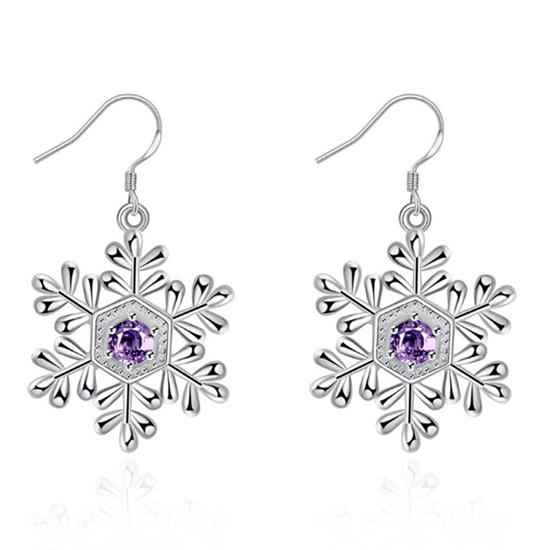 Valentines Gifts Fashion Luxury Shiny Purpal Crystal Rhinestone Snowflakes Crystal Earrings For Women Christmas Jewelry