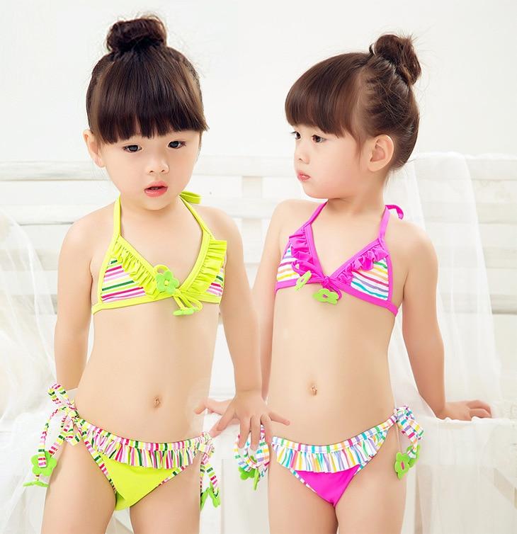 Retail Cute Children Swimsuit Stripe Bikini Set Baby