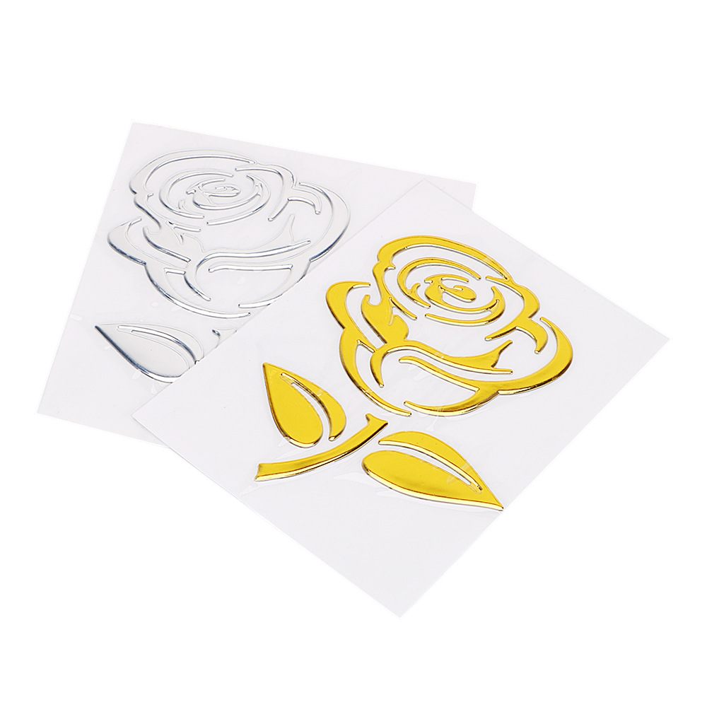 3D Golden - Silver Flower Car Stickers free Shipping