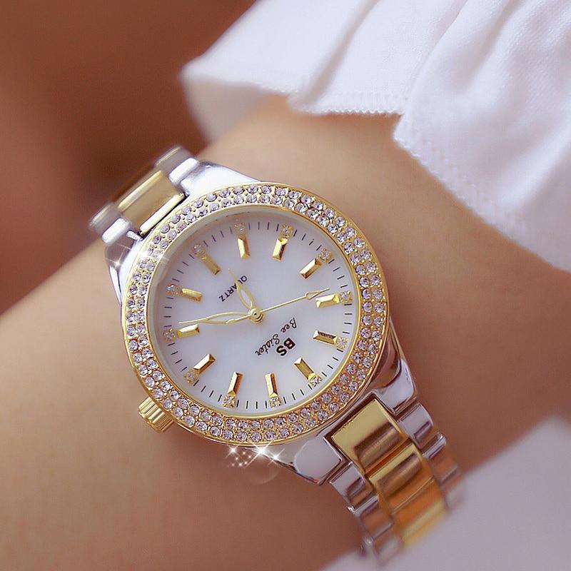 BS Diamond Ladies Watch Women Gold Luxury Bracelet Women's Watches For Women Fashion Women Clock Dress Wedding Saat