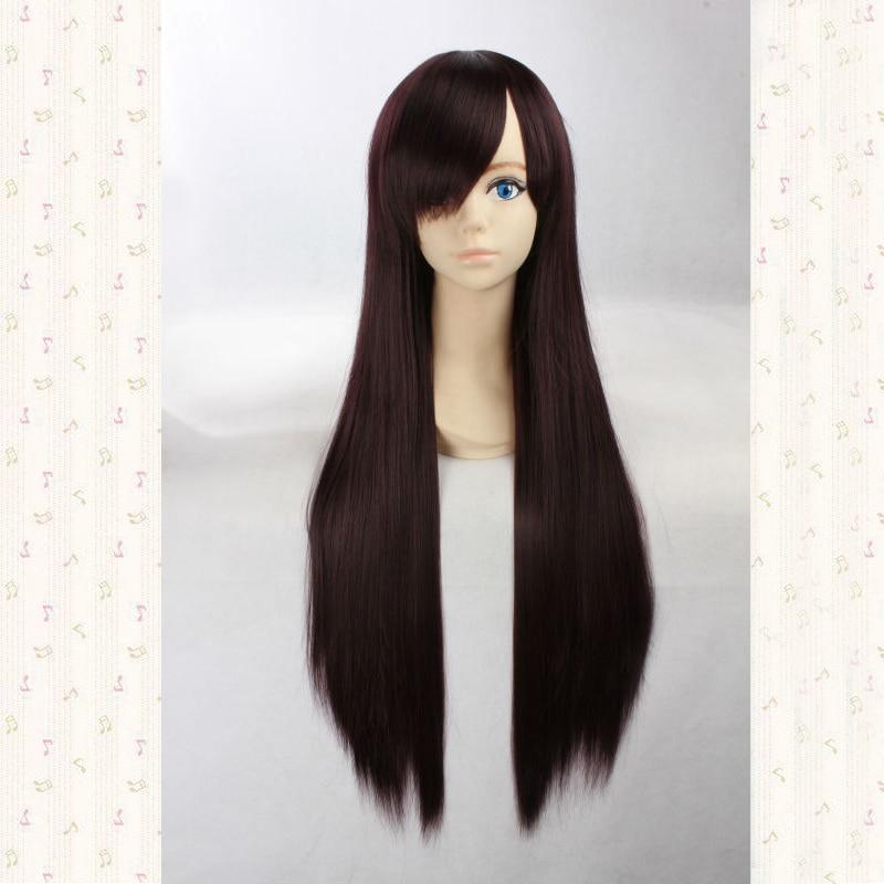Makinami Mari Illustrious 80cm Dark brown long straight synthetic cosplay anime wig,party wig + wig cap