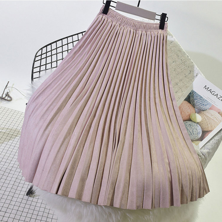 2019 Two Layer Autumn Winter Women Suede Skirt Long Pleated Skirts Womens Saias Midi Faldas Vintage
