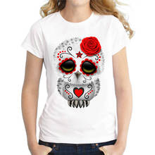 Customised T Shirts WomenS Crew Neck  Cute Red Dead Sugar Skull Short Printing Machine