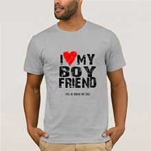 LGBT T-Shirt I Love Heart My Boyfriend Men Guy Gay Pride Valentine's Gift Luka H