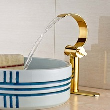 Deck Mount Gold plate Waterfall Bathroom Sink Basin Water Taps Dual Handles with Hot and Cold