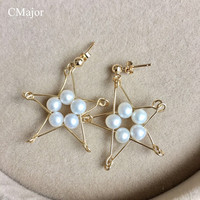CMajor Fashion Jewelry Natural Pearls Drop Earrings For Women Gold Filled Geometric Star Earrings Pearl Jewelry Mother's Day