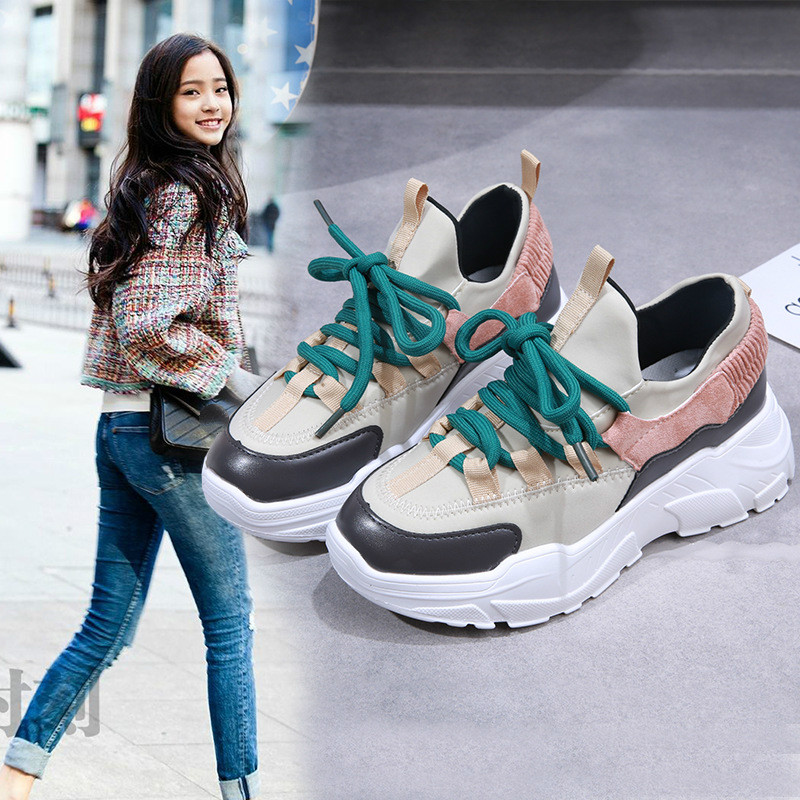 New Platform Sneakers Women Stylish Thick Sole Running Shoes Height Increasing 8 CM Chunky Sport Shoes(China)