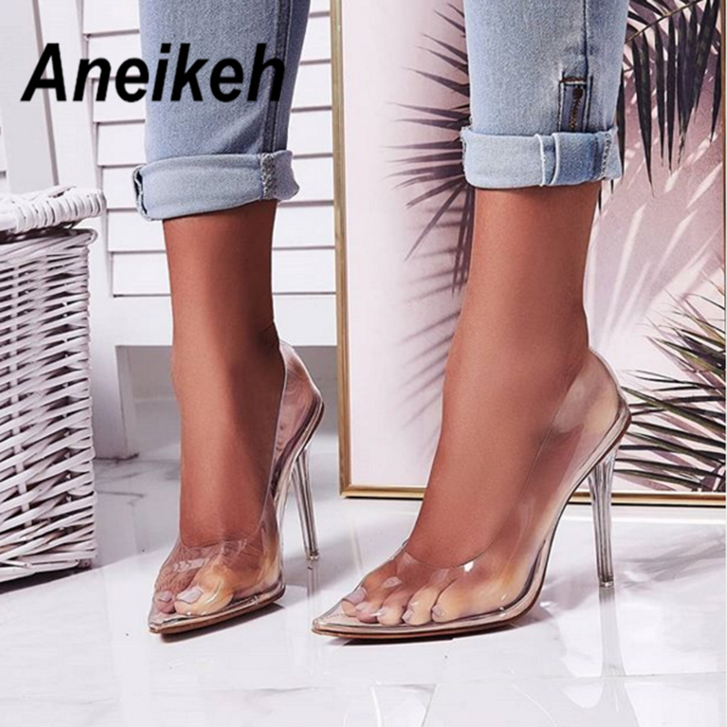 Aneikeh 2020 Concise Fashion PVC Woman Transparent Sandals Thin High Heels Shoes Pointed Toe Pumps Slip On Solid Apricot 35-42