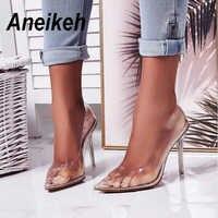 Aneikeh 2020 Concise Mode PVC Frau Transparent Sandalen Dünne High Heels Schuhe Spitz Pumpen Slip Auf Solide Apricot 35 -42