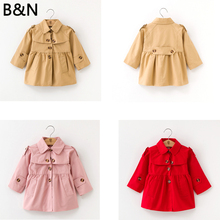 B&N Autumn Winter Girls Jacket Coat Toddler Clothes Full Sleeve Windbreak Baby Fashion Solid Red Pink Khaki Children Outwear